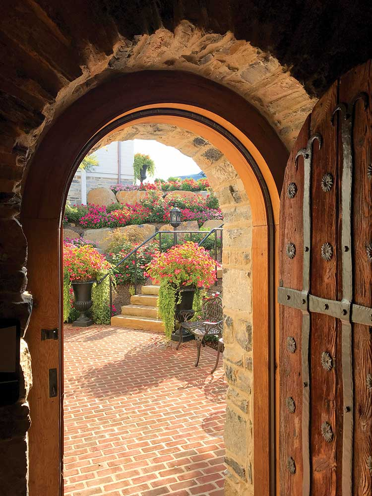 Ornate door to the Sunken Gardens at the Star Barn in Pennsylvania