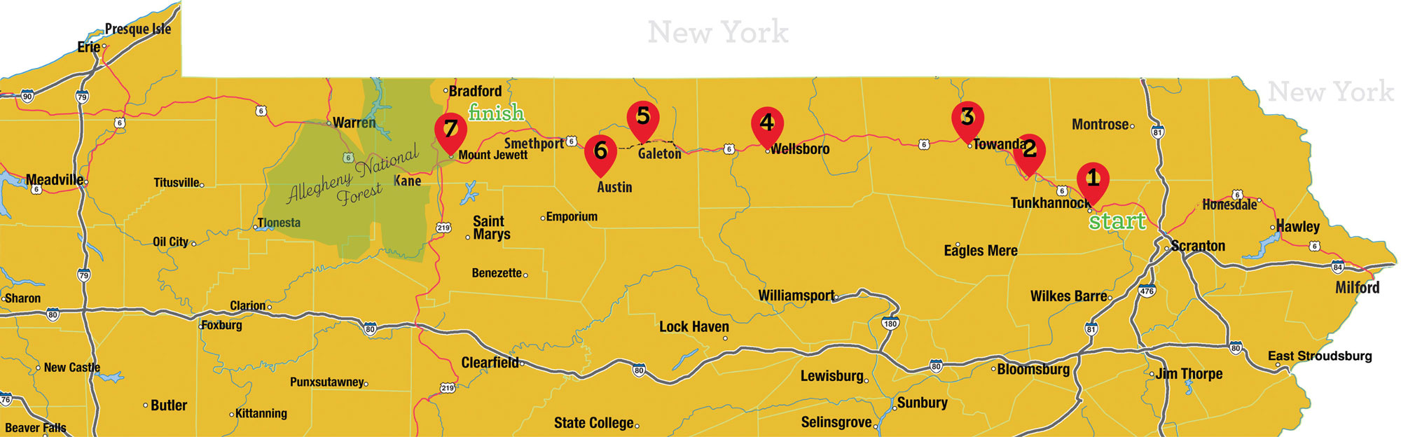 Route 6 Road Trip Map