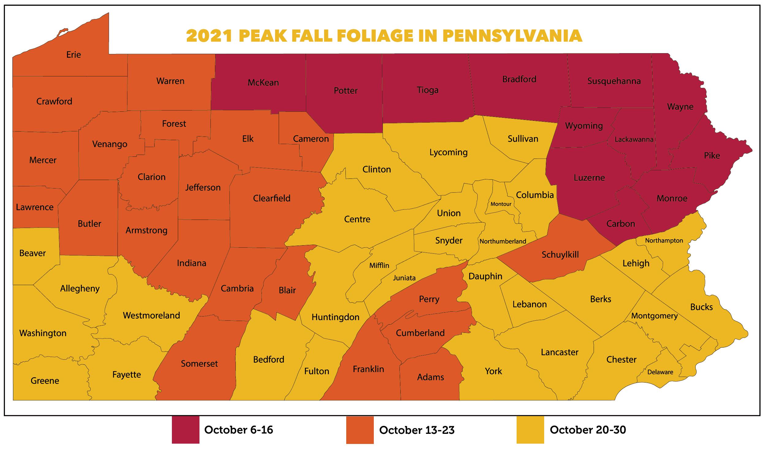 2021 PA Fall Foliage Map